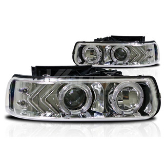 2000-2006 Chevrolet Tahoe Halo Projector Head Light - Chrome/Clear