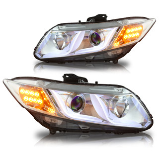 2012-2014 Honda Civic 4Dr DRL One Projecter Head Lights - (Chrome / Clear)