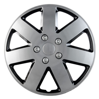 16 inch Universal Silver Lacquer and Black Lacquer Wheel Cover Set of 4