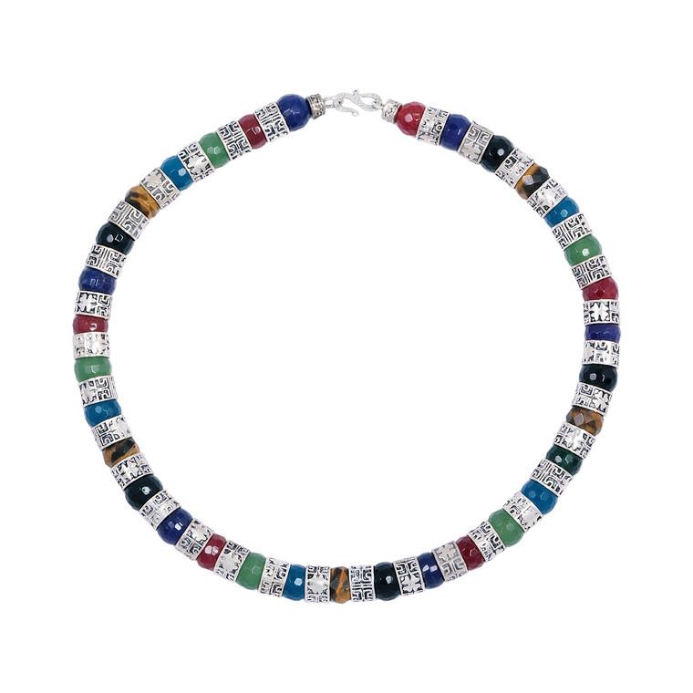 925 Sterling Silver with Hammered Work / Agate / Onyx / Jade /. Quartz / Garnet / Tigers Eye