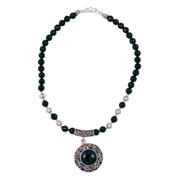 925 Sterling Silver / Faceted Onyx / Enamel Work Pendant
