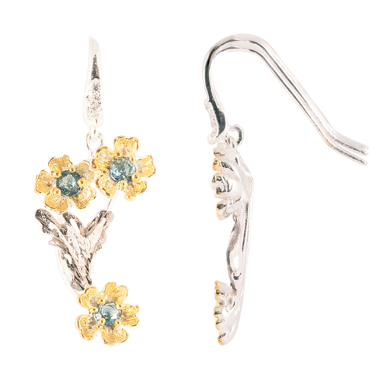 925 Sterling Silver with White and Yellow Gold Overlay / Aquamarine