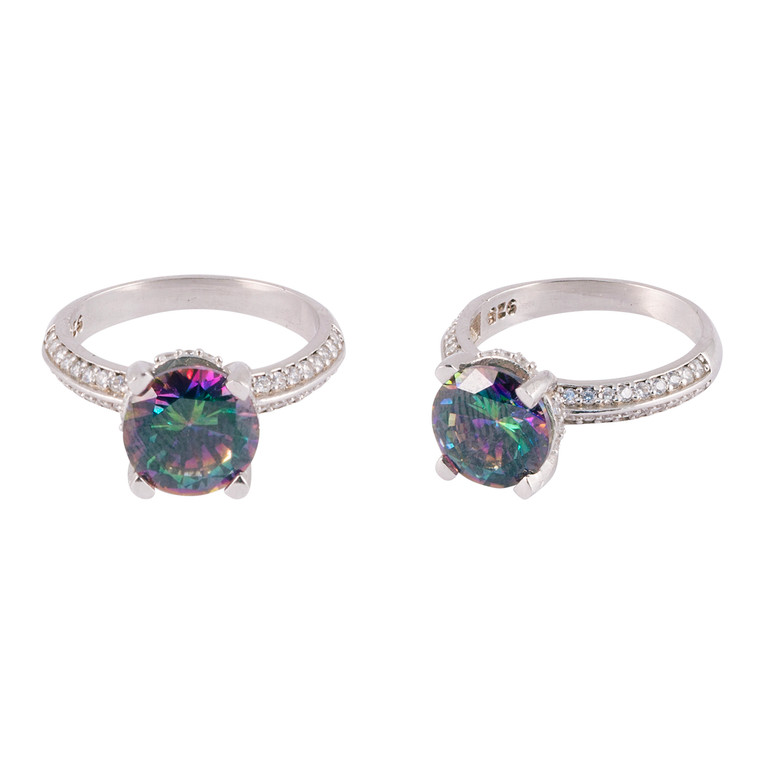 925 Sterling Silver with White Gold Overlay / Mystic Topaz / Zircon