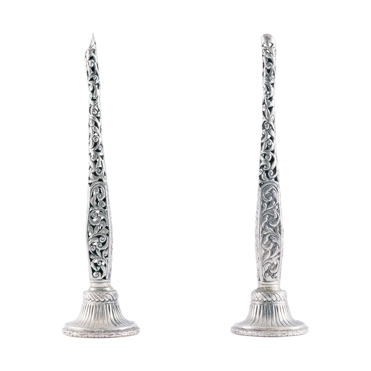 Set of Two Syrian Handmade Sterling Silver Incense Holders Circa 1970