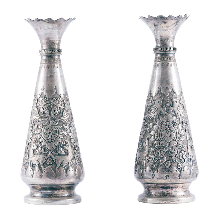 Set of Two Syrian Handmade Sterling Silver Vases Circa 1900-1920
