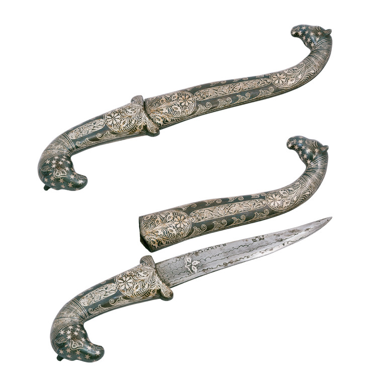 Copper / Enamel / Silver / Damascena Blade / Double Horse Handle Dagger