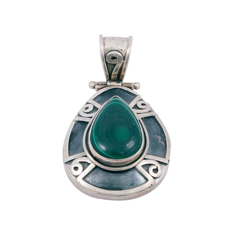 925 Sterling Silver / Malacite Pendant