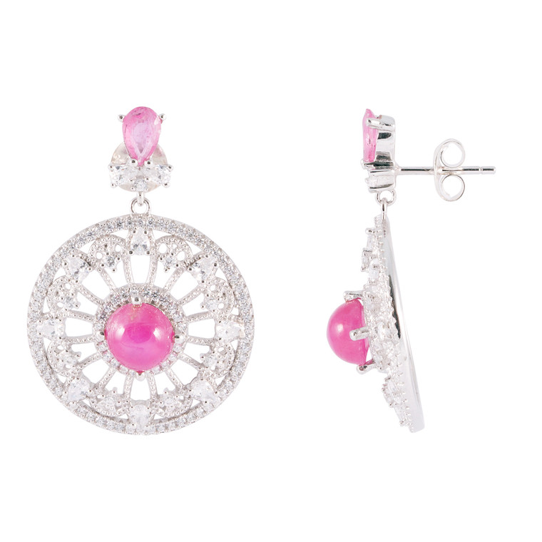 925 Sterling Silver with White Gold Overlay / Pink Ruby / Zircon