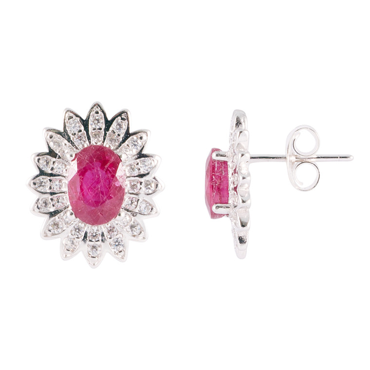 925 Sterling Silver with White Gold / Faceted Ruby / Zircon
