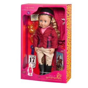 Morgan horse sold separately Hair: Long blonde hair braided in plaits Eye colour: Blue Includes: 22 pieces Doll size: 18in/46cm