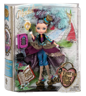 Madeline Hatter doll is hexquisitely dressed in a gold and turquoise striped jacket with textured layers, beautiful purple ruffles on the sleeves and black trim on the lapel A golden tea-hat headband adorns her curly, color-streaked ponytail hairstyle A teabag-inspired handbag with ornate print and charming golden shoes are fableous accessories Posable doll comes with a doll stand, doll hairbrush, doll-sized key and a book that opens to store accessories Collect all the dolls in the Legacy Day collection (each sold separately)
