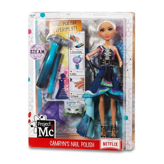 Project Mc2 Camryn's Nail Polish - 546894 The girls are gala-ready for their secret spy mission! Fun science activity: make your own nail polish colours again and again with household ingredients and included hammer, excavator and funnel Fully articulated Camryn Coyle doll dressed in amazing dragon-inspired masquerade costume with fancy accessories Accessories include: single shoulder gown with multi-coloured dragon print, detachable dragon wings, masquerade ball mask, earrings, black belt with gold details, and comb to style your doll's hair