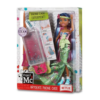 Project Mc2 Bryden's Phone Case The girls are ready in their masquerade costumes for their secret spy mission! Fun science activity: make your own glitter phone case again and again with household ingredients and included phone case and teal glitter. Fully articulated Bryden Bandweth doll with multi-coloured hair and dressed in a gorgeous mermaid-inspired masquerade costume with fancy accessories Accessories include: pink sleeveless top with blue seashell print, graffiti sequin mermaid tail, lime green headband with glitter starfish, hot pink masquerade mask, white pearl starfish earrings, white platform sneakers and comb to style your doll's hair