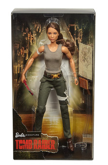 This collectible doll is based on the female character Lara Croft from the Tomb Raider movie and is sculpted to likeness of the actor Doll features a fully articulated body—perfect for high-action poses Lara ventures into the unknown armed with only her sharp mind, blind faith and stubborn spirit Includes doll, map, axe, journal, doll stand, and Certificate of Authenticity Great gift for any Barbie fans