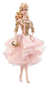 The Barbie Fashion Model Collection takes a look back at timeless couture and adds a twist to create the New Classics Collection A cocktail dress has never been so enchantingly romantic. Blush-colored organza and tulle ruffles gracefully drape like rose petals against a rich taffeta lining Luxurious golden embroidery with rhinestone and sequin embellishments lavishly adorns her elegant bodice Shimmering rhinestone and pearl drop earrings and a matching bracelet give this blonde beauty even more sparkle This BFMC collection features a poseable Silkstone body for endless posing possibilities