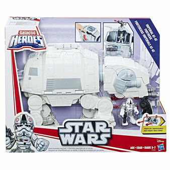 Power up AT-AT playset with projectile launcher and blaster cannon Launch 3 projectiles AT-AT features poseable head and legs and removable elevator Sized right for small hands Includes AT-AT playset, AT-AT Driver figure with 2 sets of power up arms, removable elevator, cannon, projectile launcher, and 3 projectiles.