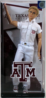Celebrate Texas A&M University with Ken doll Ken doll is dressed in his team uniform Rally the crowd and cheer for victory Includes 1 Ken doll A must have for any Barbie collector