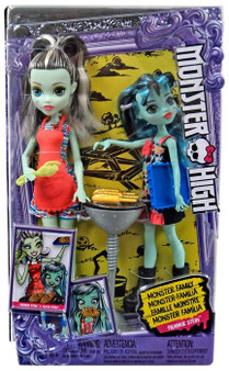 Monster High family doll packs include a favorite Monster High character doll along with a sibling or two and accessories!  Sisters Frankie Stein doll and Alivia Stein doll are cooking up fun with a barbecue Play out a backyard party with a silvery Grill; hand-shaped tongs; a serving tray and three ears of corn with handles that fit on the dolls' hands -- looks good enough to eat! The daughters of Frankenstein wear party dresses with bright colors and iconic prints; like cogs and EEG drawings for Alivia Stein doll and stitches and watermelon emoji's for Frankie Stein doll At a smaller 5.5 inches; Alivia Stein doll is kid-cute with immature details that highlight her monster evolution; like oversized feet