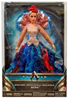 "Premium 12"" scale Mera fashion doll in royal gown State of the art actress likeness True-to-movie accessories include jellyfish collar, tiara, shimmery accents and sandals Comes with a collector's stand for display Also choose Mera doll in battle suit for a special display. Sold separately, subject to availability"