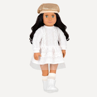 Share a little holiday sparkle! Doll is approximately 46 cm Contents: 1 x doll, 1 x hat, 1 x dress, 1 x pair of undies, 1 x pair of socks and 1 x pair of boots Batteries Not Required