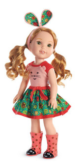 """Willa has a love for animals She's sure to be the first one up a tree-and the last to turn away a furry friend This 14.5"""" (36.8 cm) doll is sized just right for younger girls. A hedgehog tee with a sweet printed face and dimensional ears She has Hazel eyes and silky strawberry-blond hair in long pigtails that can be brushed and styled Collect all of your favorite welliewishers!"""