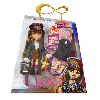 Bratz Collector Doll - Yasmin Premium 10 Inch doll with articulation Two deluxe mix and match outfits with two pairs of shoes Trench coat, purse, hat, sunglasses, compact, classic star hairbrush and limited edition poster Collect the whole Bratz pack