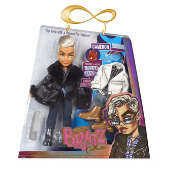 Bratz Collector Doll - Cameron Premium 10 Inch doll Two deluxe mix and match outfits with two pairs of shoes Two jackets, satchel bag, sunglasses, comb and limited edition poster Collect the whole Bratz pack
