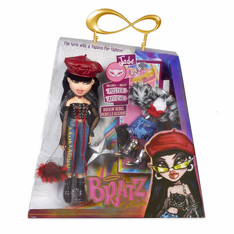 Bratz Collector Doll - Jade Premium 10 Inch doll with articulation Two deluxe mix and match outfits with two pairs of shoes Faux fur shrug, purse, hat, sunglasses, compact, classic star hairbrush and limited edition poster Collect the whole Bratz pack