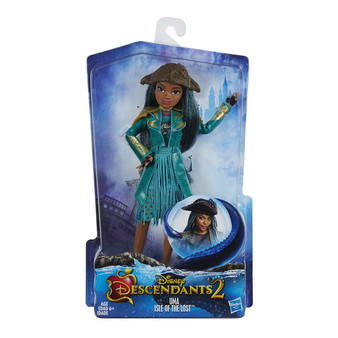 Set off on a journey with the teenage progeny of Disney's iconic characters Fashion dolls sport outfits from Disney's Descendants movie Dolls feature bold, stylish accessories, including clutches, jewelry, and shoes