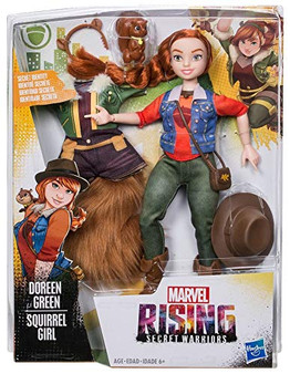 Doreen Green (Squirrel Girl) Doll inspired by Marvel Rising Secret Warriors Includes hero outfit, everyday outfit, and accessories Poseable doll with multiple points of articulation Exclusive to Target