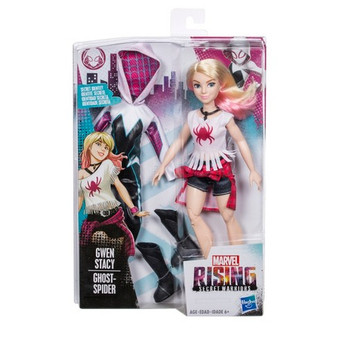 Gwen Stacy (Ghost-Spider) doll inspired by Marvel Rising Secret Warriors Includes hero outfit, everyday outfit, and accessories Poseable doll with multiple points of articulation Features soft goods fashions and rooted hair Kids can collect the team! (Each sold separately. Subject to availability.)