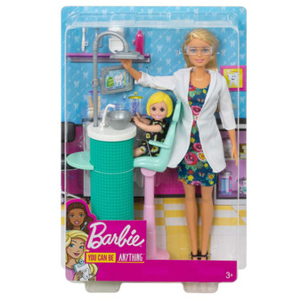 Dream big and go places with Barbie dolls and toys that have workspace themes - young imaginations will brighten their smiles during playtime with Barbie dentist doll and playset that comes with a toddler patient doll, chair, sink and dental tools The chair charms patients with fun colours, and the sink is state-of-the-art with a cool-looking lamp and monitor display Additional accessories inspire storytelling and role-play, like a toothbrush, goggles and teeth mold The toddler patient is so cute - the small doll wears a daisy print dress and has a tooth missing Barbie doll is ready to see her patient in a blue dress with floral print, white coat and shoes Pick one profession or try them all because when a girl plays with Barbie, she imagines everything she can become (each sold separately, subject to availability) Five-point restraint