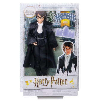 """Fans and collectors will love recreating their favourite storylines from Harry Potter and the Goblet of Fire with Harry Potter Yule Ball doll Special details include Harry doll's iconic glasses and Yule Ball look, featuring all-black dress robes over a white shirt and bow-tie This collectible Harry Potter doll has """"joints"""", making him posable and adventure-ready!  True-to-movie details and a Yule Ball invitation accessory add to the storytelling fun.  Kids can collect Hermione Granger, Ron Weasley and Cho Chang Yule Ball dolls for more storytelling fun. Each sold separately, subject to availability"""