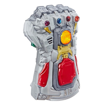 Recreate controlling the universe with the Avengers: Endgame Electronic Gauntlet, featuring electronic lights and sound FX inspired by the Avengers: Endgame film. The Electronic Fist has lights and sounds so kids can recreate the action of the Avengers and their enemies. When kids push the centre button, they can light up an Infinity Stone or activate sound FX. Designed to fit most kids' hands sizes so kids can recreate wielding the power of the Infinity Stones. Look for other Marvel toys and figures (each sold separately, subject to availability) to build a Marvel universe, inspired by the Marvel comics, films and entertainment. Batteries required: 2 x AAA (included)