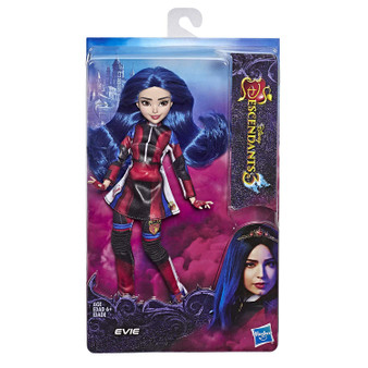 EVIE FROM DISNEY'S DESCENDANTS 3: In Disney's Descendants 3, Evie is determined to give all VKs a chance at happiness in Auradon FASHION DOLL WITH ACCESSORIES: This Evie figure includes doll, stylish outfit, and boots for fashion play fun DISNEY'S DESCENDANTS 3 MOVIE: This Disney toy is inspired by Evie from Disney's Descendants 3 movie TOY FOR 6 YEAR OLDS AND UP: This Descendants doll is an amazing birthday gift or holiday present for kids