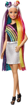 Barbie Rainbow Sparkle Hair Doll Extra-Long Blonde Rainbow Hair Comb and Hair styling Accessories Suitable for Ages 5 Plus