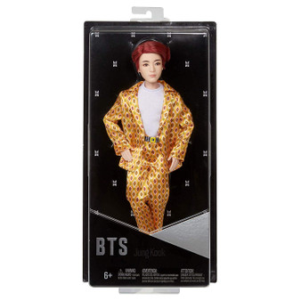 """Show your love for BTS with the official collection of fashion dolls representing all seven artists. Also available (sold separately) are fashion dolls based on all six other BTS members: RM, Jin, SUGA, j-hope, Jimin, and V. Collect all them all. This Jung Kook doll's fashion is inspired by the unforgettable custom-designed suit that he wears in the """"Idol"""" music video and is carefully crafted to match his signature style. They have rooted hair and are both articulated and poseable-you can move their arms, legs, and heads."""