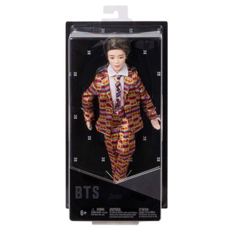"""Show your love for BTS with the official collection of fashion dolls representing all seven artists. Also available (sold separately) are fashion dolls based on all six other BTS members: RM, Jin, SUGA, j-hope, V, and Jung Kook. Collect all them all. This Jimin doll's fashion is inspired by the unforgettable custom-designed suit that he wears in the """"Idol"""" music video and is carefully crafted to match his signature style. They have rooted hair and are both articulated and poseable-you can move their arms, legs, and heads."""