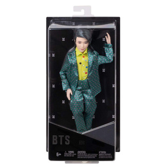 """Show your love for BTS with the official collection of fashion dolls representing all seven artists. Also available (sold separately) are fashion dolls based on all six other BTS members: Jin, SUGA, j-hope, Jimin, V, and Jung Kook. Collect all them all. This RM doll's fashion is inspired by the unforgettable custom-designed suit that he wears in the """"Idol"""" music video and is carefully crafted to match his signature style. They have rooted hair and are both articulated and poseable-you can move their arms, legs, and heads."""
