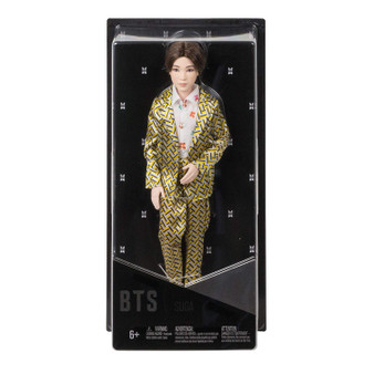 """Show your love for BTS with the official collection of fashion dolls representing all seven artists. Also available (sold separately) are fashion dolls based on all six other BTS members: RM, Jin, j-hope, Jimin, V, and Jung Kook. Collect all them all. This SUGA doll's fashion is inspired by the unforgettable custom-designed suit that he wears in the """"Idol"""" music video and is carefully crafted to match his signature style. They have rooted hair and are both articulated and poseable-you can move their arms, legs, and heads."""