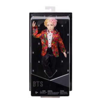 """Show your love for BTS with the official collection of fashion dolls representing all seven artists. Also available (sold separately) are fashion dolls based on all six other BTS members: RM, Jin, SUGA, j-hope, Jimin, and Jung Kook. Collect all them all. This V doll's fashion is inspired by the unforgettable custom-designed suit that he wears in the """"Idol"""" music video and is carefully crafted to match his signature style. They have rooted hair and are both articulated and poseable-you can move their arms, legs, and heads."""