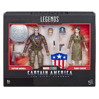 Marvel Legends Sereis 6-inch action figures: celebrate the Marvel Cinematic universe with this Captain America and Peggy carter 6-inch-scale action figure 2-Pack from the Marvel Legends series. Marvel movie-inspired design: with premium deco inspired by the Captain America: The first Avenger film where Captain America and Peggy carter join in the fight against the red skull, these figures make a great gift for fans of Marvel entertainment. Premium pose ability and detail: these highly articulated Marvel Legends series figures feature intricate character detailing, making them excellent for both play and display. Switchable hands and 7 accessories: both the Captain America and Peggy carter figures come with 2 alternate hands, allowing fans to create Dynamic poses and memorable scenes from the Marvel Cinematic universe. Look for other Marvel Legends series items: fans can look for many more Marvel Cinematic and comic inspired action figures from the Marvel Legends series! (Sold separately. Subject to availability.)