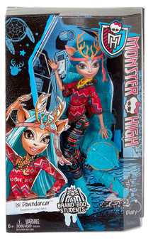 Monster High is continuing the Monster Exchange program, bringing in new ghouls from all over the monster world Dancing in from Boo Hexico, Isi Dawndancer, daughter of the Deer Spirit, will unwittingly have Mansters falling head over hoof for her. She wears a gore geous shirt and pant outfit designed in tribal prints with lots of bright Colours and fringe effect. To die for boots, uhhhmazing accessories (like an antlered headpiece) and a freaky fabulous travel bag complete the killer look. Monster High Isi Dawndancer Doll is suitable for ages 6 years and over