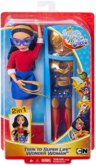 "Wonder Woman doll, a.k.a Diana Prince, comes with complete looks -transform her from super-teen to Super Hero! Fans can act out everyday teen moments, or swoop into action-Packed adventures with this action doll and 9 removable accessories. She comes dressed in her everyday outfit with a stylish sweater, skirt, shoes, headband, and glasses. When duty calls, change Diana Prince into her iconic Wonder Woman uniform complete with a star-spangled skirt, knee-high boots, a lasso, shield, tiara, and more. Doll (approx.11-in) can stand alone and has bendable ""joints"" (at the elbows, wrists, and knees) for action-Packed posing and play. For ages 6 and up."