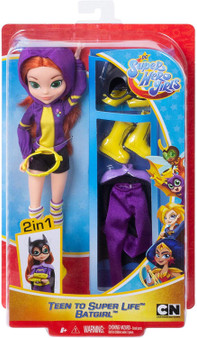 "Batgirl doll, a.k.a Barbara Gordon, comes with two looks -transform her from super-teen to Super Hero! Fans can play out every day teenage stories, or swoop into action-Packed adventures with this doll and 6 removable accessories. She comes dressed in her teen outfit, ready to rock in her hoodie, shorts, striped knee-high socks, and sneakers. When duty calls, change Barbara Gordon into her iconic Batgirl uniform complete with a long cape, matching cuffs and belt, tights, boots, and sleek bat mask. Doll (approx. 10-in)  can stand alone and has bendable ""joints"" (at the elbows, wrists, and knees) for action-Packed posing and play. For ages 6 and up."