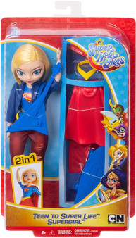 "Supergirl doll, a.k.a Kara Danvers, comes with two complete looks -transform her from super-teen to Super Hero! Fans can play out every day Super Hero High stories, or swoop into action-Packed play to save the day with this doll and 6 removable accessories. She comes dressed in her school outfit, ready to rock in her ripped jeans, boots, belt, and motor jacket. When duty calls, change Kara Danvers into her iconic Supergirl uniform complete with a red cape, skirt, belt, and sneakers. For storytelling fun, she also comes with her signature guitar and skateboard. Doll (approx.10.5-in) can stand alone and has bendable ""joints"" (at the elbows, wrists, and knees) for action-Packed posing and play. For ages 6 and up."