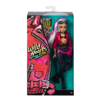 Wild Hearts Crew Rallee Radmore Doll with Style Accessories:  Age Range: 6 Years and Up Join the Wild Hearts Crew -a sisterhood of girls following their wildest hearts' desires Rallee Radmore is an amateur guitarist and ultimate pizza enthusiast She comes wearing rad clothing and accessories like a pink moto jacket, punk-plaid pants, combat boots, goggles, and a fanny pack With bendable elbows, wrists, and knees, you can help Jacy Masters doll do whatever she wants -dance, pose, or rock out! Discover your own wild heart with these Wild Hearts Crew dolls. Collect them all! Includes 12-inch doll wearing fashions and accessories