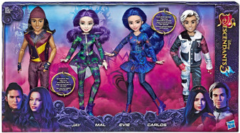 Disney Descendants 4 Pack includes Exclusiive Carlos, Exclusive Jay, Mal, and Evie Fashion dolls with accessories Isle of the Lost Ages 6 & up