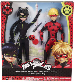 Set of 2 dolls from the Miraculous series, Ladybug adventures and black cat Characters: Mister bug and black lady. Accessories included Black Lady hair can be styled Many miraculous dolls to collect