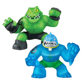 The Heroes of Goo Jit Zu are the squishiest, stretchiest and gooiest action figures ever Use their goo power to defeat evil and save the day Your Versus pack includes two exclusive glow in the dark Goo Jit Zu Heroes. Versus pack includes Thrash and Rock Jaw. Suitable from 4 years.